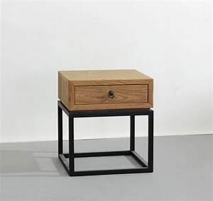 Table Bois Et Fer : table de chevet bois et fer design en image ~ Teatrodelosmanantiales.com Idées de Décoration