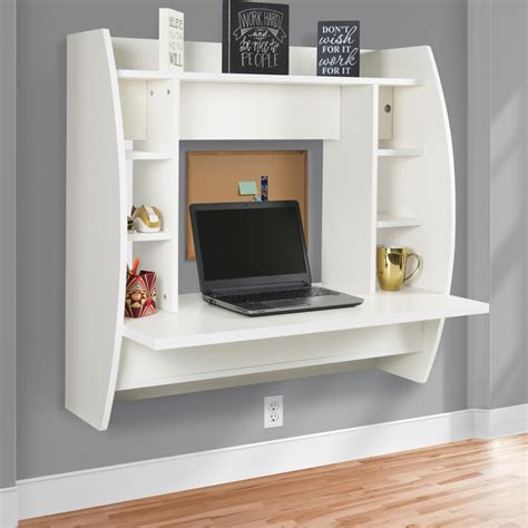 wall mounted computer desk floating desk with storage wall mounted computer desk work station indoor white