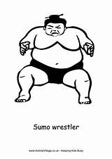Sumo Wrestler Colouring Wrestling Pages sketch template