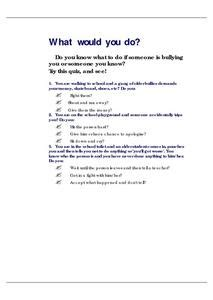 bully quiz what would you do lesson plan for 4th 7th