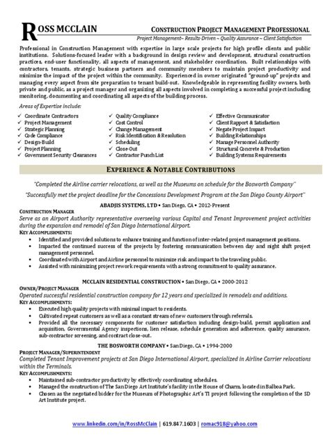 Project Manager In San Diego Ca Resume Ross Mcclain