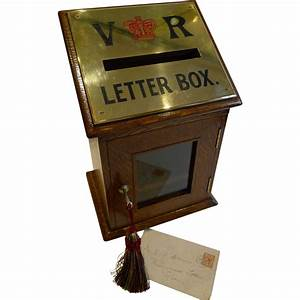 antique english letters box in oak with brass c1890 from With vintage letter box