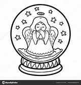 Snowball Kleurplaat Kinderen Voor Boek Kleurplaten Engel Met Stockillustratie Stockvector Depositphotos Engelen Volwassenen Coloring Sneeuwster Sneeuwbal Winter Savva Ksenya Save sketch template