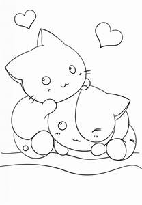 Two Kawaii kittens in cute coloring page for girls ...