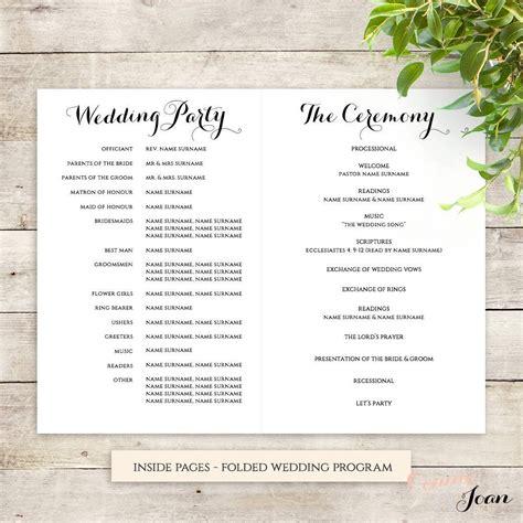 byron printable wedding order  service template order