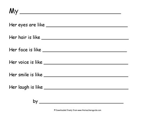 Poetry Templates For by 16 Best Images Of Simile Worksheets 2nd Grade Simile And
