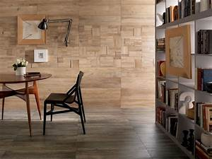 wood look tiles With parquet on wall