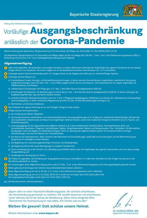 Nun sollen noch strengere regeln helfen, die zahl der neuinfektionen einzudämmen. Corona verordnung bayern   BayMBl. 2020 Nr. 205. 2020-03-19