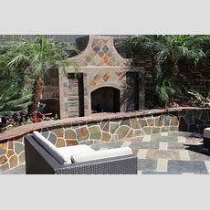 California Gold Slate Outdoor Fireplace Traditional