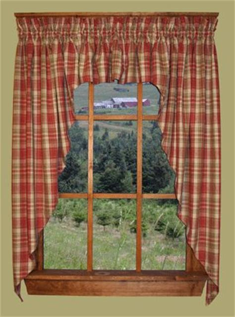 primitive homestead plaid swag country curtains   Favorite