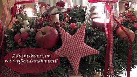 adventskranz rot selber machen diy adventskranz selber machen in rot wei 223 schm 252 cken i landhausstil i weihnachtsdeko i how to