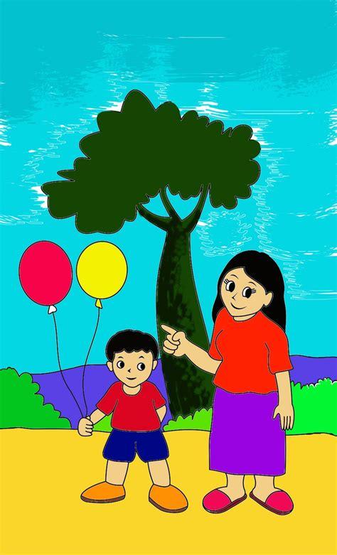 menggambar mewarnai mewarnai ibu dan anak