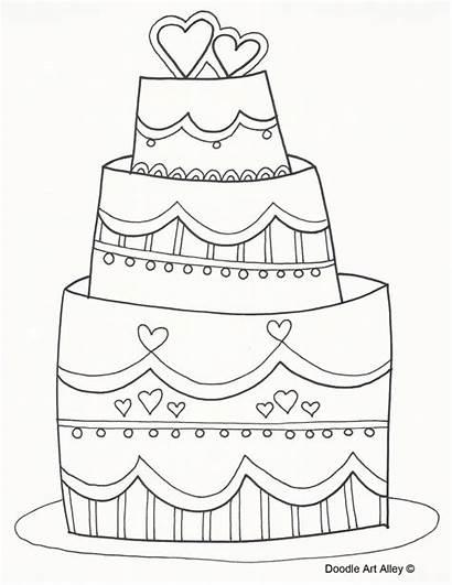 Coloring Cake Sheets Printable Drawing Doodle Tort