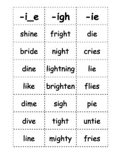Here Is A List Of Words With The Long I Sound That Kids Can Play Games With This Document