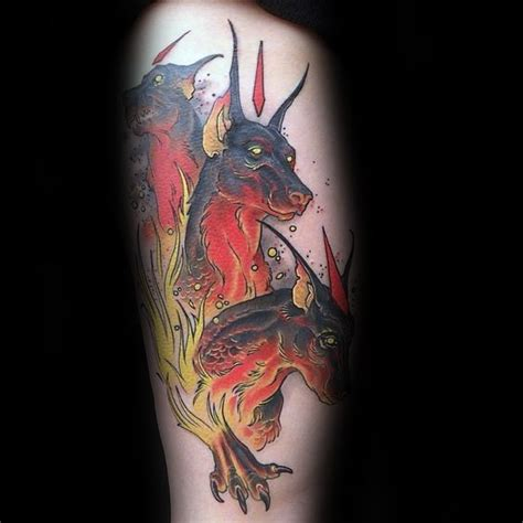 neo traditional style colored tattoo  cerberus