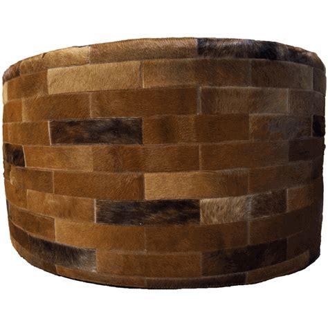 36 x 36 ottoman dark brown round cowhide ottoman 36 inch