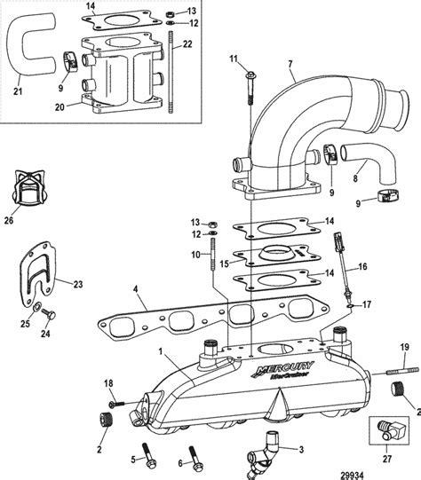 mercruiser 8 1l inboard h o exhaust manifold riser parts