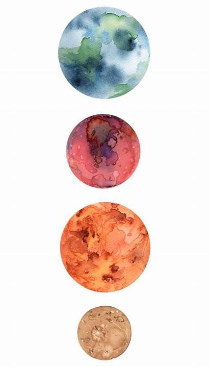 Earth Mercury Mars Watercolor Sticker Planets Planet