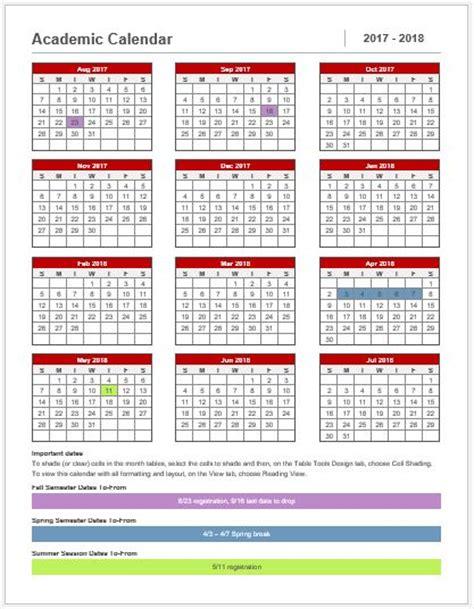 academic calendar template preschool calendar templates for ms word excel word excel templates