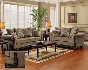 Dream, Java, Chenille, Sofa, U0026, Love, Seat, Living, Room, Furniture, Set, Wood, Trim