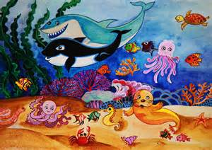 Cartoon Ocean Animals Drawings