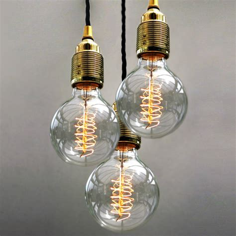 set of three bulb pendant lights cable copper and sewn