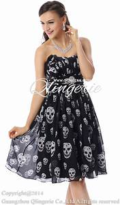 amazing black a line empire cascading ruffles skull prints With skull wedding dress for sale