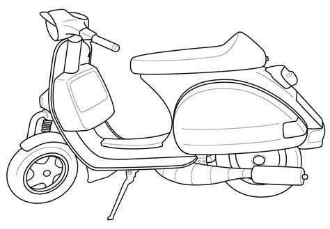 scooter  transportation printable coloring pages