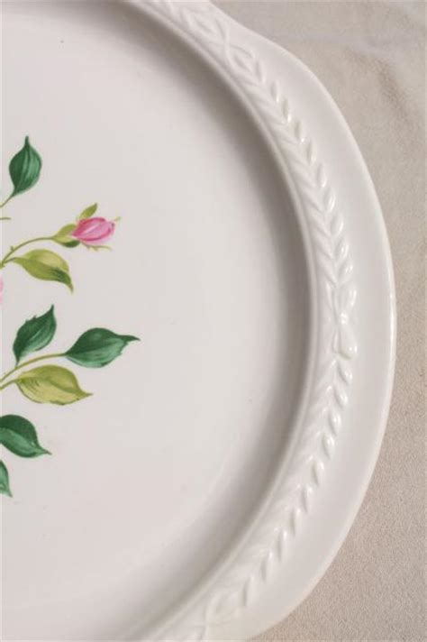 1930s vintage pink rose floral cake plate w/ tray handles
