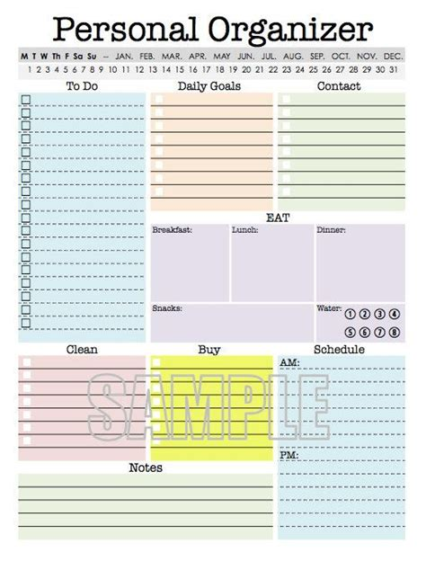 personal organizer editable daily planner weekly