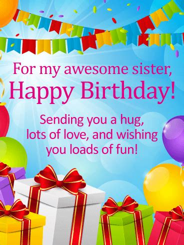awesome sister happy birthday wishes card