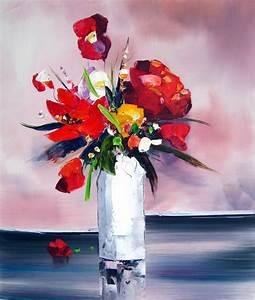 Tableau Fleurs Moderne : tableau contemporain bouquet fleurs rouges fleurs rouges ~ Teatrodelosmanantiales.com Idées de Décoration