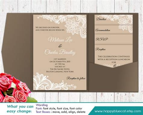 diy printable pocket wedding invitation template set