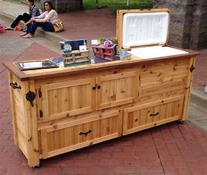 Rustic Cooler Cabinet Outdoor Bar Serving Table by