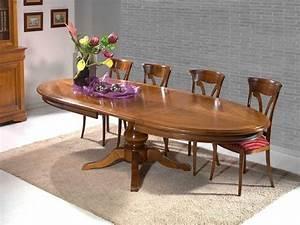 Solde Table A Manger : table manger ovale classique en merisier massif 1 pied central meubles bois massif ~ Teatrodelosmanantiales.com Idées de Décoration