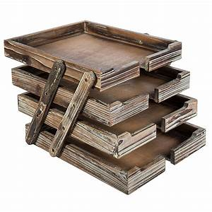4, Tier, Distressed, Brown, Wood, Desktop, Document, Paper, Organizer, Collapsible, Expandable, Stacking, Trays