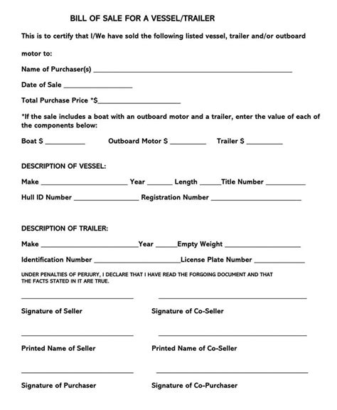 trailer bill  sale form  forms templates