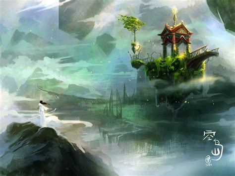 Fantasy Art Digital Art Mist Asian Architecture