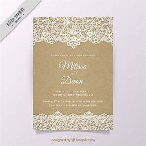 vintage wedding invitation with lace vector free download With wedding invitations templates freepik