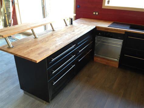 cuisine noir plan de travail bois cuisine bois noir avec plan de travail en hetre admin
