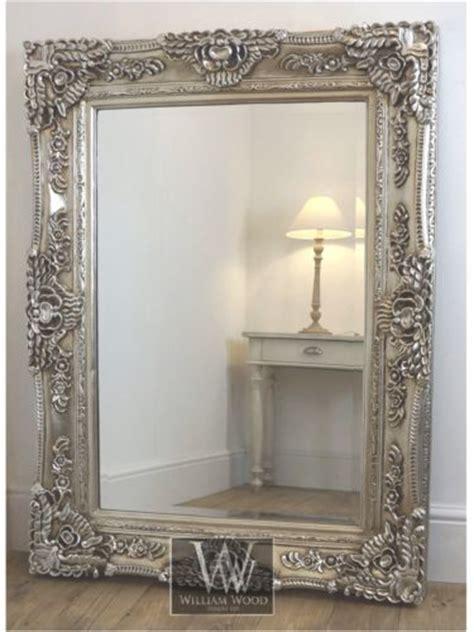 ella silver ornate rectangle antique wall mirror