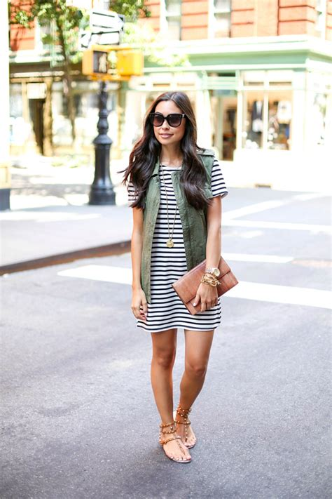 Stripe dress with green vest and Valentino rockstud sandals.