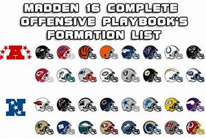 Madden 16 Complete Offensive Playbooks Formation List