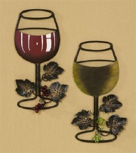 Kitchen Kaboodle Wine Glasses by White Wine Glass With Vine And Grapes Metal Wall