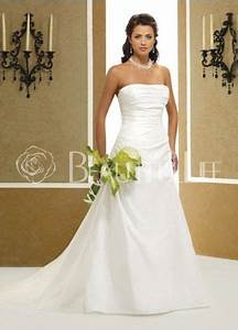 28699plain pleated satin strapless a line sweep With robe blanche simple