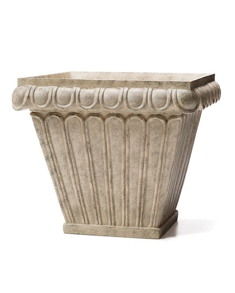 Square Plant Containers by 20 Quot W Ribbed Square Decorative Container For Indoor Plants