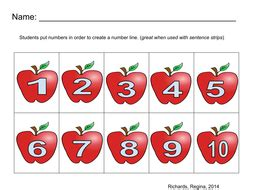 Number Line 1-10 Apples | Teaching Resources