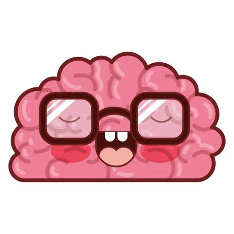 Personagem de cérebro com óculos e expressão engraçada em