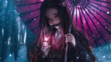 desktop wallpaper anime girl beautiful nezuko kamado hd