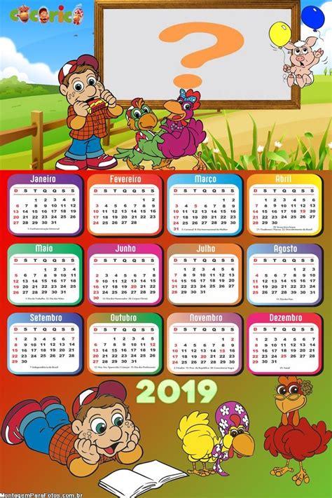 Calendário 2019 Galinha Pintadinha Montagem para Fotos